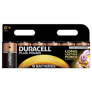 Duracell Plus Power Type D Alkaline Batteries, pack of 6