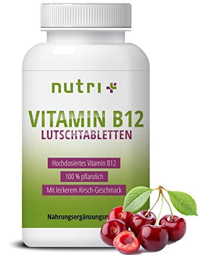 Vitamin B12 Lutschtabletten - vegan & hochdosiert - 1300µg (mcg) 100 vegane Tabletten zum lutschen - aktives Methylcobalamin - Geschmack Kirsche - hergestellt in Deutschland