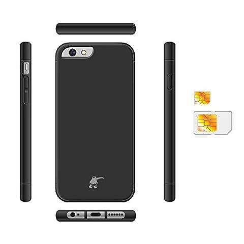KiWiBiRD® Dual SIM mit schwarz Schutzhülle für Apple iPhone 6S Plus ONLY (Sim For Iphone)