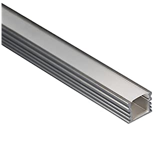 LED Aluminium Profil eloxiert L. 2Meter–15,5x 12mm Stange für led Streifen mit Bildschirmschutzfolie aus Polycarbonat satiniert