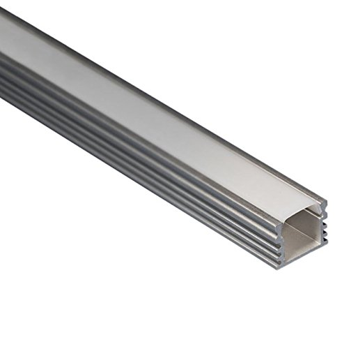 LED Aluminium Profil eloxiert L. 2Meter-15,5x 12mm Stange für led Streifen mit Bildschirmschutzfolie aus Polycarbonat satiniert - Satiniert Mit Streifen