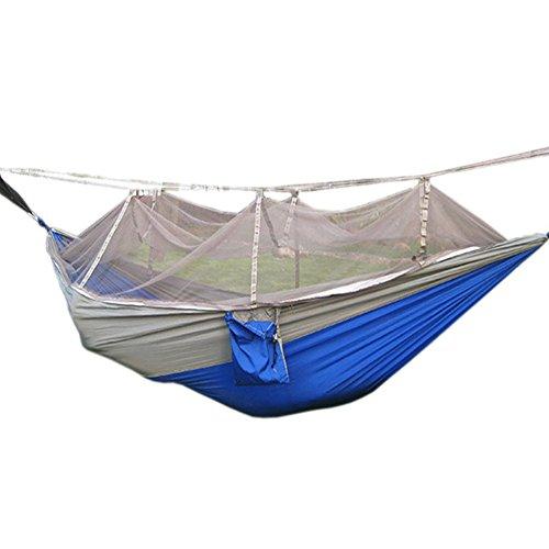 Camping Hängematte mit Moskitonetz tragbar Outdoor Bett robust Hammock aus Fallschirmseide max. Belastbarkeit 200kg - 2