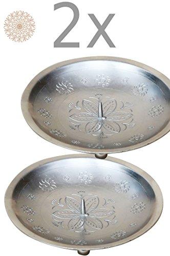 2er SET Orientalischer Kerzenständer Kerzenhalter Silber Jaini Rund 12cm Groß | Marokkanischer...