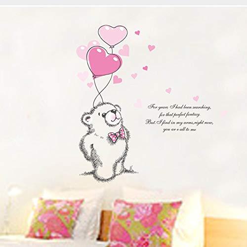 Mznm Wandaufkleber für Kinderzimmer, Motiv: Bär, mit Luftballon, Rosa