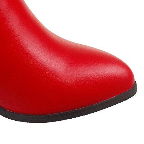 AllhqFashion Femme à Talon Haut Haut Demi Couleur Unie Zip Bottes avec Chaînes Rouge