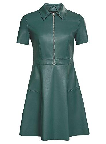 oodji Ultra Damen Kurzarm-Kleid in Lederoptik und Reißverschluss an der Brust Grün (6C00N)