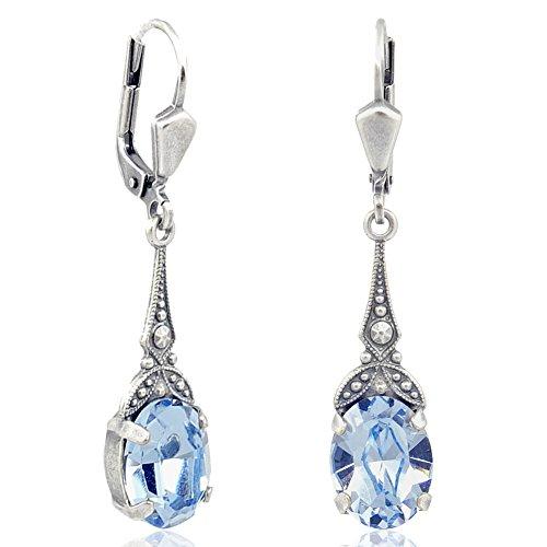 Jugendstil Ohrringe mit Kristallen von Swarovski® Blau - Farbe Silber Light Sapphire - Made in Germany