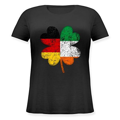 Shirtracer St. Patricks Day - Deutschland Irland Kleeblatt - Lockeres Damen-Shirt in Großen Größen mit Rundhalsausschnitt Schwarz