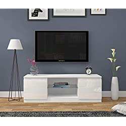 Meuble TV Haute Brillance Blanc Mat et Blanc Brillant avec Lampe LED, 120 cm NO LED