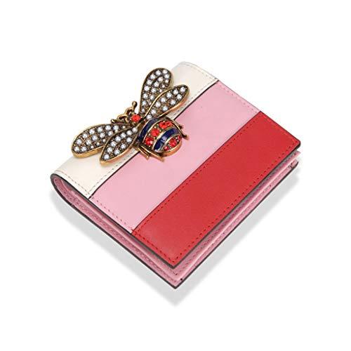 Raffinierte handgefertigte Lederbrieftasche, Anti-Kratz-Hardware für zufällige Geschäftsreiseschule (Farbe : Rosa) -
