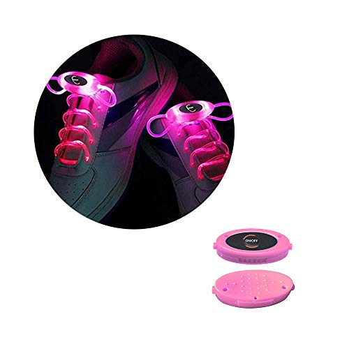 (Man&Y RGB 80 cm Glow Schnürsenkel LED Sport Schnürsenkel Glow Stick Neon Leuchtende Schnürsenkel Rosa Für Frauen Männer (Color : Pink))