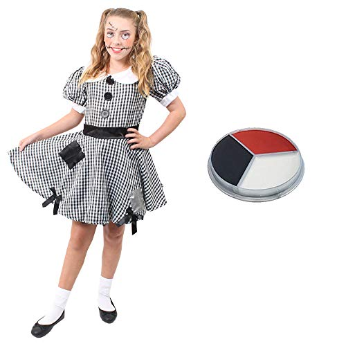 ILOVEFANCYDRESS Kinder KOSTÜM VERKLEIDUNG Flicken Kleid Puppen MIT SCHMINKE =RAG-DOLL/Stoff =Fasching Karneval Halloween Themen Party =MÄDCHEN=MEDIUM (Rag Kostüm-kind Doll)
