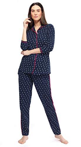 ZEYO Women's Cotton Unique Print Night Suit Set (Navy Blue, XXL)