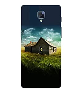 Takkloo house in middle of field blue sky,cloudy sky, green field view) Printed Designer Back Case Cover for OnePlus 3T