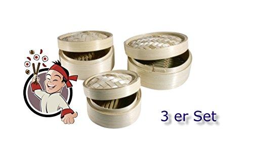 3 er Set - Asia Kitchen - Dampfkorb Bambuskorb Bambusdämpfer Bamboo Steamer