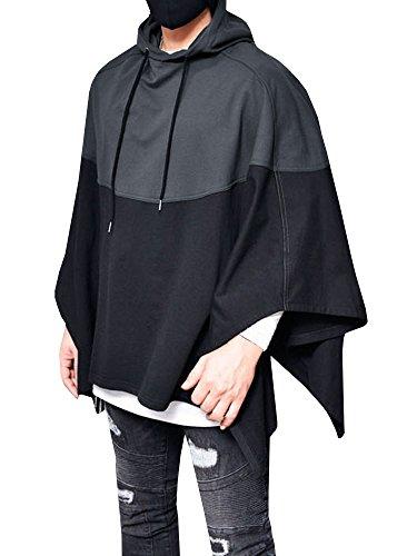 Outgobuy Männer Farbe Nähen Splice Kapuzenpullover Unregelmäßiger Saum Sweatshirt Poncho Mantel Cape Mantel (Grau, X-Large)