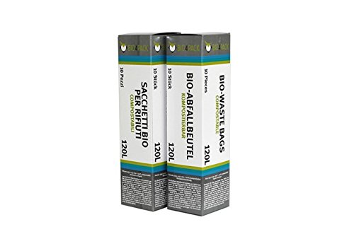 BIO4Pack Bio Abfallbeutel 120 L, Faltschachtel Biomüllbeutel, 2er Pack (2 x 10 Stück) (Kompostierbare Plastiktüten)