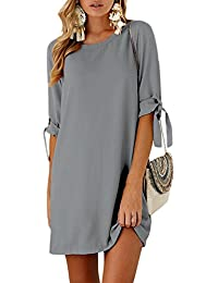 YOINS Women Mini Dresses Summer T Shirt Tunics Self-tie Half Sleeves Solid Crew Neck Blouse Dresses