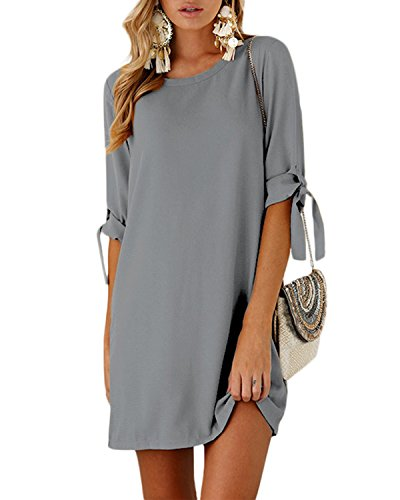 YOINS Sommerkleid Damen Tshirt Kleid Rundhals Kurzarm Minikleid Kleider Langes Shirt Lose Tunika mit Bowknot Ärmeln grau M/EU40-42