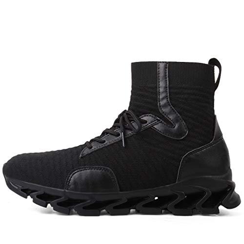 CUTUDE Herren Gewebt Atmungsaktiv Kurze Stiefel Mode Hohe Mesh Schuhe Turnschuhe Sneaker für Gym Walking Jogging Laufen Basketball Frühling Sommer (Schwarz, 38 EU)