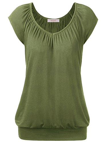 Kurzarm Raglan T-shirt (WAJAT Damen Raglan Falten T-shirt Kurzarm Stretch V-ausschnitt Militärgrün L)