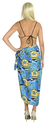 Sarong Bikini Verpackung Pareo verschleiern Badeanzug swimwear Strandkleid Damen Pool Rock Blau