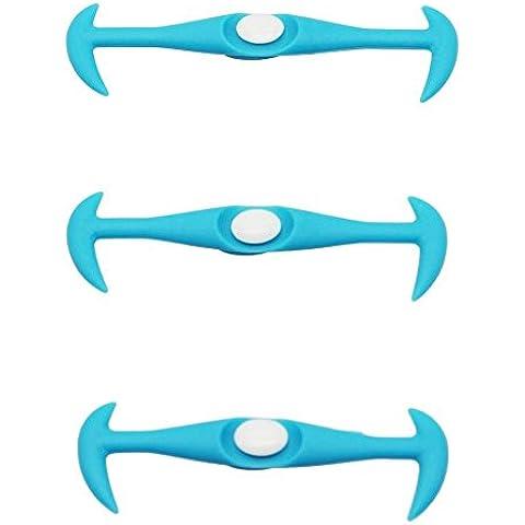 VANKER 12pcs elástico de silicona de lazada de lona de las zapatillas de deporte de extracción fácil En / bloqueo Azul