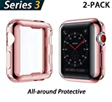 YoLin Apple Watch Series 3 Schutzhülle, iwatch Case Weiche Ultradünne TPU iwatch Displayschutz All-Around Hülle für Apple Watch Serie 3 38mm (1 Roségold + 1 Transparent)
