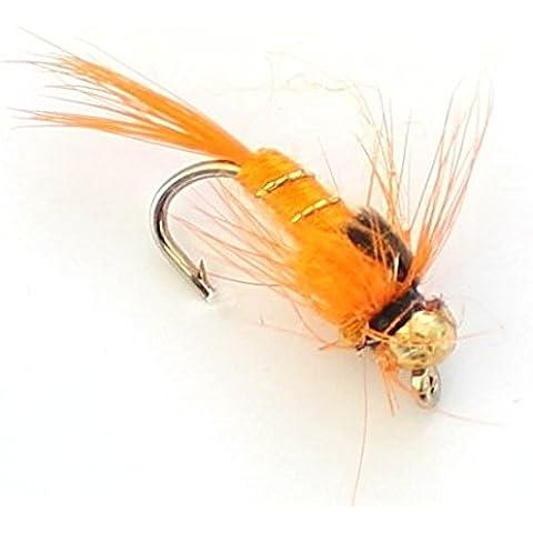 6x Pesca alla trota Oro Fiore, ninfe 33J X 6X Arancione e oro gancio Taglia 12 - Pesca A Mosca Indicatori Sciopero