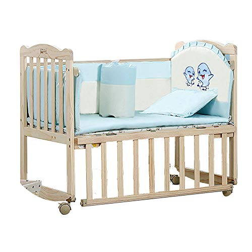 HUIFA Krippe Multifunktions mit Rollenbabyspiel-Zaun natürliches festes Holz Krippe gesund ungiftig DREI Positionen geeignet für 0-8 Jahre altes Baby (Farbe : Brown, größe : 90 * 50cm) - 4in 1 Kinderbett