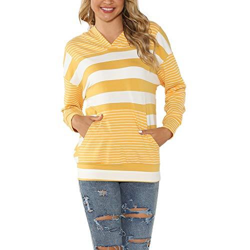 LILIHOT Hoodie Damen Sweatshirts gestreifte Sport Kapuzenpullover mit Tasche Langarm Winter Pullover Outerwear