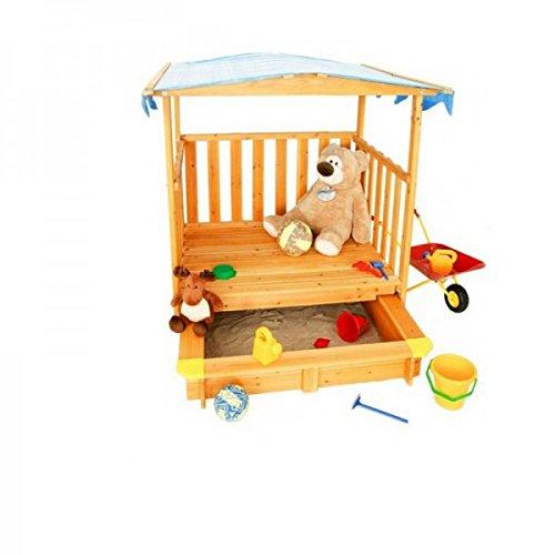 Sandkasten mit Spielhaus Holz Veranda Sonnenschutz-Dach