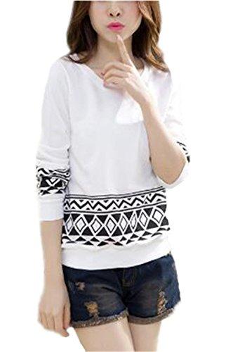 Aoliait Femme Détendu T-shirt University Col Rond Tops Manches Longues Décontractée Shirt Casual Imprime Chemisier Basique Géométrique Blouses white