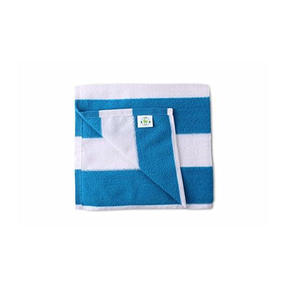 Bathe & Soak Microfiber Bath Towel Cabana, 70x140 cms, Large, 250 GSM (White & Blue)