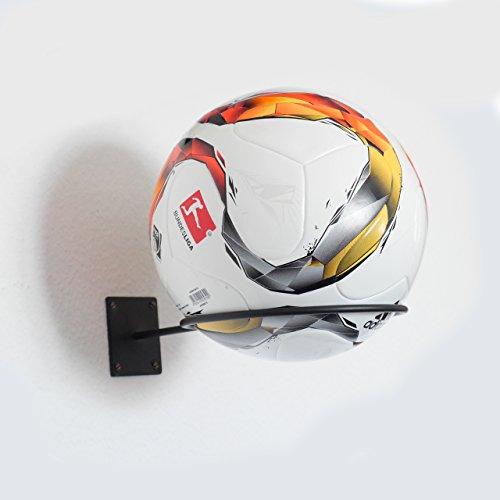 Ballhalter in schwarz matt - Ballhalterung / Ballständer für Fußball, Basketball, Volleyball, etc. - Halterung zur Wandmontage - verstauen von Bällen jeglicher Art - Ballständer