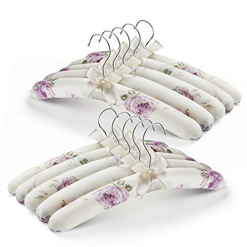GLCON 5 Unidades de Perchas Acolchadas de satén con Estampado de Flores con Lazo de Color Marfil para Vestidos, Lana, Novia, lencería, etc.