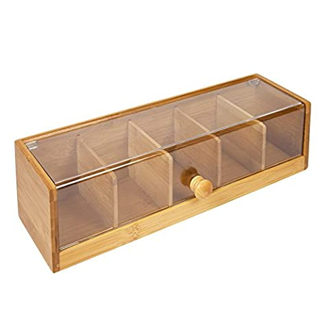 Woodluv 5 Compartment Tea Bag Storage Caddy Box Organizer in Bamboo and Acrylic, Natural