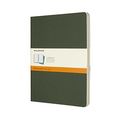 Moleskine Cahier Journal (3er Set Notizbücher mit karierten Seiten, Kartoneinband und Baumwollstickerei, Extra Large 19 x 25 cm, 120 Seiten) myrten-grün -
