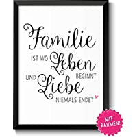 Familie ist Geschenke Bild mit Rahmen Geschenkidee zum Vatertag Muttertag Geburtstag Hochzeitstag Ostern für Eltern Mama Papa Mutter Vater Danksagung
