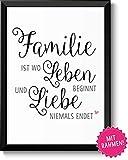 Familie ist wo Leben beginnt und Liebe niemals endet Bild im schwarzem Holz-Rahmen Geschenk Geschenkidee Danke sagen Dankeschön Eltern