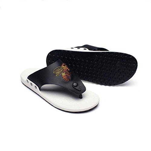 Lxxamens Summer Beach Véritable Cuir Mâle Pantoufle Vêtements Casual Flip Flops Sangles Chaussures Sandales Flip Flops Noir