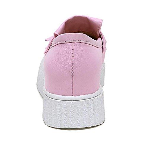 TAOFFEN Damen Mode Flach Schlupfschuhe Plateau Pumps Pink