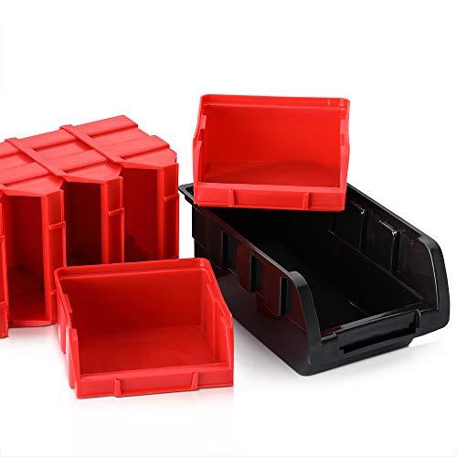 Deuba® Wandregal + Stapelboxen ✔ 32 tlg Box ✔ extra starke Wandplatten ✔ Regal erweiterbar ✔ Werkstattregal Lagerregal Werkstattwandregal Steckregal - 9