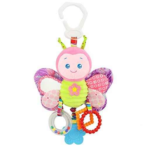 Giocattolo per bambini, giocattolo per bambini di alta qualità, sonaglio in peluche con anelli per mordere, piegare e piegare la carta, specchio per bambini a partire da 0 mesi (farfalla)