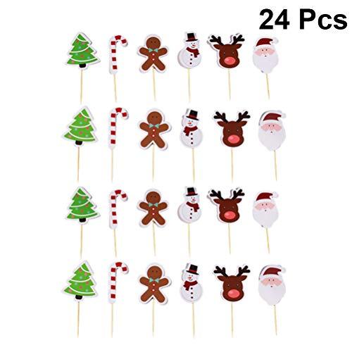 Amosfun 24 stücke weihnachtskuchen topper karikatur weihnachtsbaum elch cupcake dessert essen pick zahnstocher für festlichen urlaub kinder geburtstag babyparty gastgeschenke