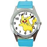 taport Pikachu Pokemon Runde Quarz Armbanduhr Blau Leder Band + Gratis Ersatz Batterie + Gratis Geschenkverpackung