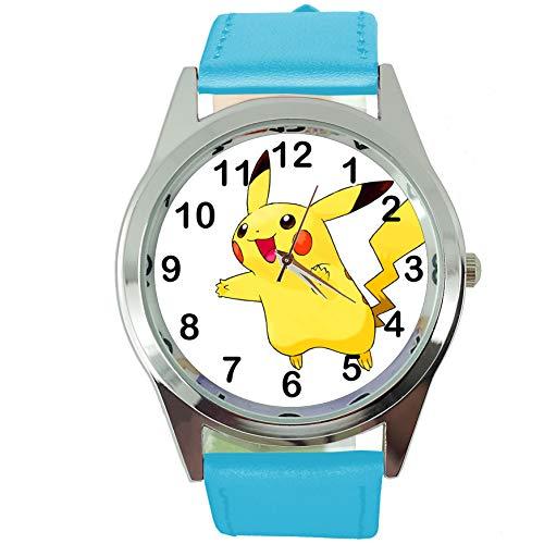 taport Pikachu Pokemon Runde Quarz Armbanduhr Blau Leder Band + Gratis Ersatz Batterie + Gratis Geschenkverpackung (Gratis Mickey-maus)