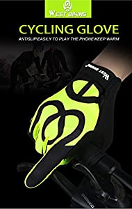 Cycling Gloves for Men Women, West Biking Windproof Silicone Touch Screen Full Finger Winter Glove for Smart Phone Mountain Bike Road Bicycle Riding