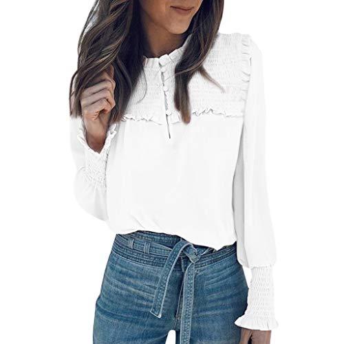 Plissee-rüsche Shirt (Evansamp Frauen Langarm Bluse, Retro Rüschen Casual Plissee Lose Arbeit Büro Plus Size Bluse Tops T-Shirts(Weiß,L))