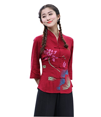 Bluse Lotus Muster Rot Etuikleid Chinesisch Knöpfe Cheongsam (44 Tag3XL) ()